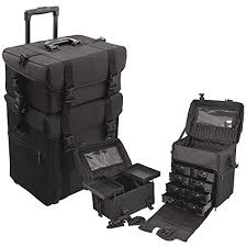 amazon glenor beauty 2 in 1 rolling wheeled professional makeup artist make up case with 2
