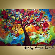 modern abstract tree fine art for hand made colorful tree paintings artbyluizavizoli