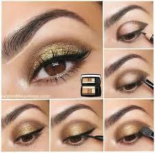simple golden eye makeup for brown eyes