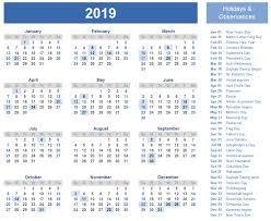 Calendar 2019 Printable With Holidays 2019 Calendar Amazonaws