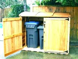 outdoor garbage storage containers cans outdoors outside trash can holder half