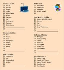 Sample Travel Packing List Packing List Template 8 Free Samples Examples Format