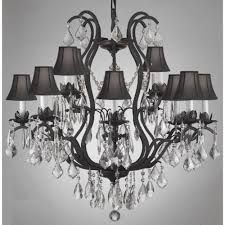 versailles light wrought iron and crystal chandelier with black shades with manor wrought iron crystal chandelier