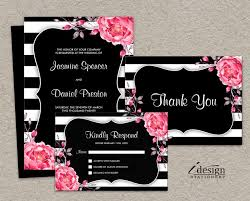 32 best floral black and white striped wedding invitations images Pink And Gold Wedding Invitation Kits elegant wedding invitation sets with floral black and white stripe design and pink watercolor peonies by Pink and Gold Glitter Wedding Invitations