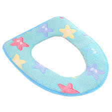 stylish toilet lid toilet seat cover winter warmer soft cushion star blue