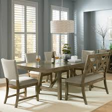 black dining room set with bench. 6 Piece Trestle Table Dining Set With Bench Black Room