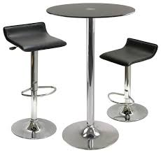 winsome wood rossi 3 piece round glass pub table w 2 air lift adjule stools