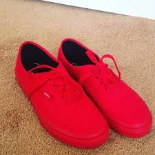 red vans shoes for girls. monochromatic red vans.. size 7.5 in men vans shoes for girls