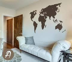 World Map Decal Temporary Wall Decor Office Wall Decal World Map Wall Sticker Wall Art Decor Large World Map Decal Ak003