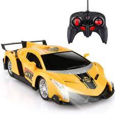 Remote Control Car, RC Cars Xmas Gifts for Kids 1/24 Electric Sport Racing  Hobby Toy Car Yellow Model Vehicle for Boys Girls Adults with Lights and  Controller - BIFYTON