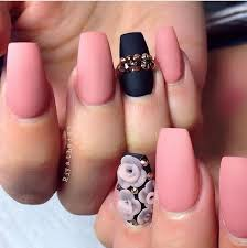 black and pink matte nails
