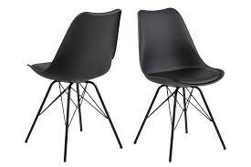 2x Esszimmerstuhl Erin Küchenstuhl Stuhl Set Stühle Polsterstuhl Metall Schwarz Dynamic 24de