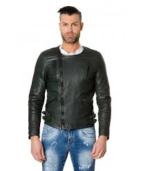 clou2 green colour lamb leather jacket no collar perfecto the jacket master