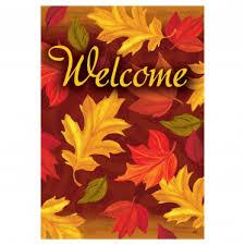 fall garden flags. Fall Banner Welcome Flag - Cascading Leaves Garden Flags E