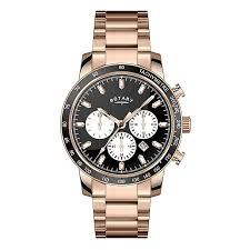 rotary watches h samuel rotary men s black dial rose gold plated bracelet watch product number 3562646