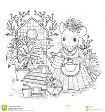 Adorable Mouse Coloring Page Stock Illustration Illustration Of