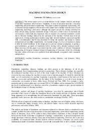 Machine Foundation Design Formula Machine Foundation Design An Introduction