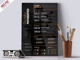 Best Modern Clean Resume Design Photographer Resume Cv Psd Template Psdfreebies Com