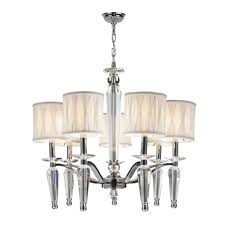 worldwide lighting gatsby 7 light chrome and clear crystal chandelier with white fabric shade