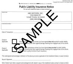 Public Liability Insurance Notice, Imprinted