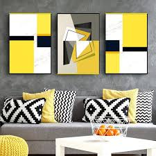 orange and gray wall art black grey yellow geometry picture canvas prints wall art paintings modern