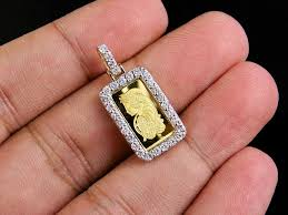 24k yellow gold 1g lady fortuna bar real diamond pendant charm 7 10 ct 1 2