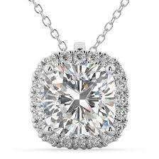 halo cushion cut diamond pendant necklace 14k white gold 2 27ct
