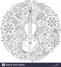 Coloring Page With Ornamental Violin In