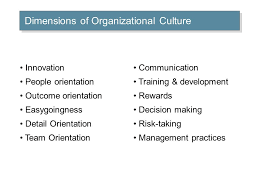 business leadership and organizational behavior organizational team orientation communication training development rewards decision making risk taking management practices dimensions of organizational culture