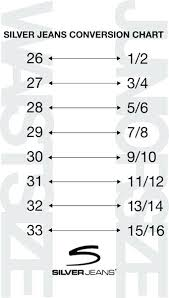 Silver Jeans Co Size Chart Vanity Sizing Chart Timewithfriends Co