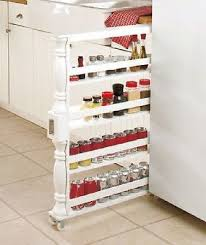 kitchen storage spice rack slim tall spice canned goods rolling