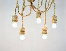 kiven 5 heads sailing rope pendant lights diy retro hemp rope pendant lamps nautical rope chandeliers