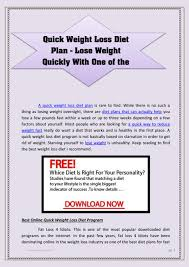 Quick Weight Loss Diet Plan Lose Weight Quickly With One Of