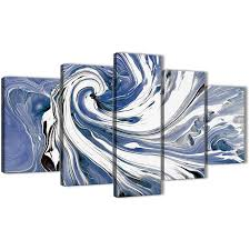 oversized extra large indigo blue white swirls modern abstract canvas wall art split 5 part 160cm display gallery item 1  on blue and white canvas wall art with extra large indigo blue white swirls modern abstract canvas wall art