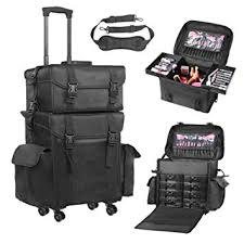 amazon voilamart rolling makeup case trolley 2 in 1 travel cosmetic train cases on wheels nylon black bags for professional make up artist cosmetics