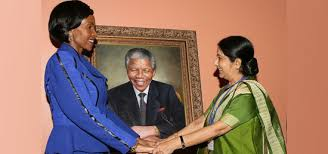 High Commission of India  Pretoria  South Africa  Presentation of Portrait of Nelson Mandela by Ms Sushma Swaraj  External Affairs Minister of India to Ms Maite Mashabane  Foreign Minister of South Africa