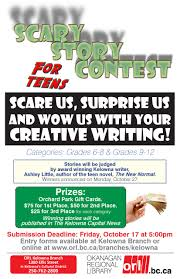 scary story creative writing contest for teens kelownalibrary scary story contest 11x17 poster 6 page 001