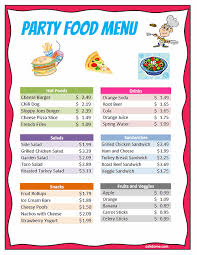 Party Menu Excel Party For 5 Food Budget K 5 Computer Lab