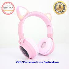 Tai Nghe Bluetooth 5.0/Tai Nghe Mèo Dễ Thương Màu Hồng Cho Nữ, Tai Nghe Âm  Thanh Nổi Nhấp Nháy 3 Màu - Tai Nghe Có Dây Chụp Tai (Over-Ear)