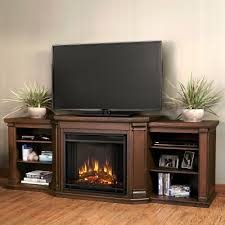 valmont 76 in a console electric fireplace in chestnut oak