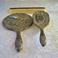 vintage dresser set mirror brush comb