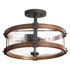 kichler barrington 14 02 in w distressed black and wood clear glass semi flush mount