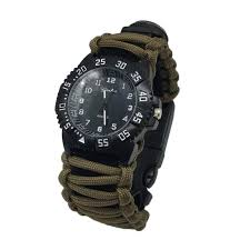online buy whole men watches survival from men watches men women sport watch multifuctional survival paracord bracelet scraper whistle thermometer flint fire starter gear bangle
