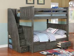 Image of: Full Over Full Bunk Bed Plans with Stair