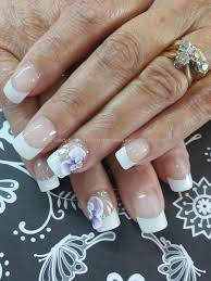 Eye Candy Nails & Training - White french with 3d flower nail art ...