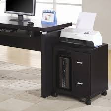 Flow Mobile Wood Computer Printer Stand In Cappuccino I 7004 Pertaining To  Desk Decor 4