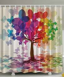 colorful shower curtains. Abstract Art Shower Curtain Large Colorful Spring Season Tree With Butterflies Reflection Leaves In Rainbow Colors Curtains