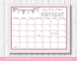 Modern Pink Chevron Printable Baby Due Date Calendar Editable Pdf Ebay