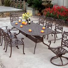 Oval outdoor dining table popular darlee santa monica 9 piece cast aluminum patio set with intended for 22