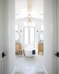 bright white bathroom with patterned floor tile | BATHROOM Design + ...